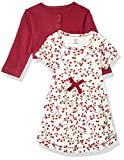 Touched by Nature Baby Girls' Organic Cotton Dress and Cardigan, Berry Branch, 18-24 Months