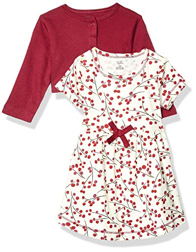 Touched by Nature Baby Girls' Organic Cotton Dress and Cardigan, Berry Branch, 3-6 Months