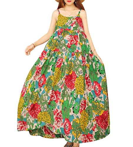 YESNO Women Casual Loose Bohemian Floral Print Dresses Empire Waist Spaghetti Strap Long Maxi Summer Beach Swing Dress M E75 CR10