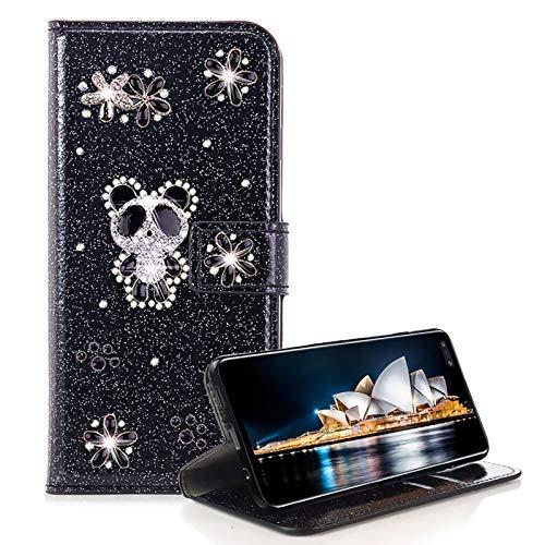 Glitzer Strass Brieftasche für Galaxy S10 Plus,Schwarz Leder Handyhülle für Galaxy S10 Plus,Moiky 3D Magnetisch Kristall Niedlich Panda Blumen Diamant Hülle mit Kartenfächer Ständer