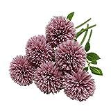 Tifuly Flores de Hortensia Artificial, 6 Piezas de crisantemo de Seda pequeña Bola de Flores para la decoración de la Oficina del jardín del hogar, Ramos de Novia, arreglos Florales(Rosado Morado)