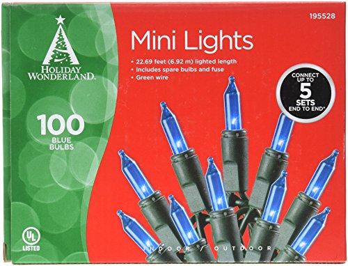 Holiday Wonderland Mini Lights, 22.69 feet (6.92 m), 100 Blue Bulbs