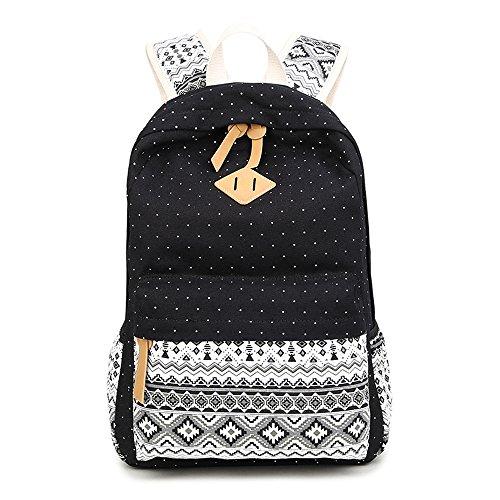 Rucksäcke für Mädchen, Mädchen Schulranzen, Marsoul Rucksäcke Frauen Weinlese-Stilvolle Damen-Beutel Rucksack (Dot Black)