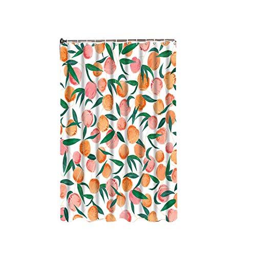 BANGSUN Pfirsichfarbener Duschvorhang mit Früchten, niedliches buntes Design, Pink