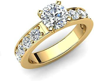 Juego de Anillos de Compromiso para Novia, Solitario de Diamantes de tamaño K en Oro Amarillo de 14 Quilates D/VVS1 1,20 ctw. Anillo Redondo