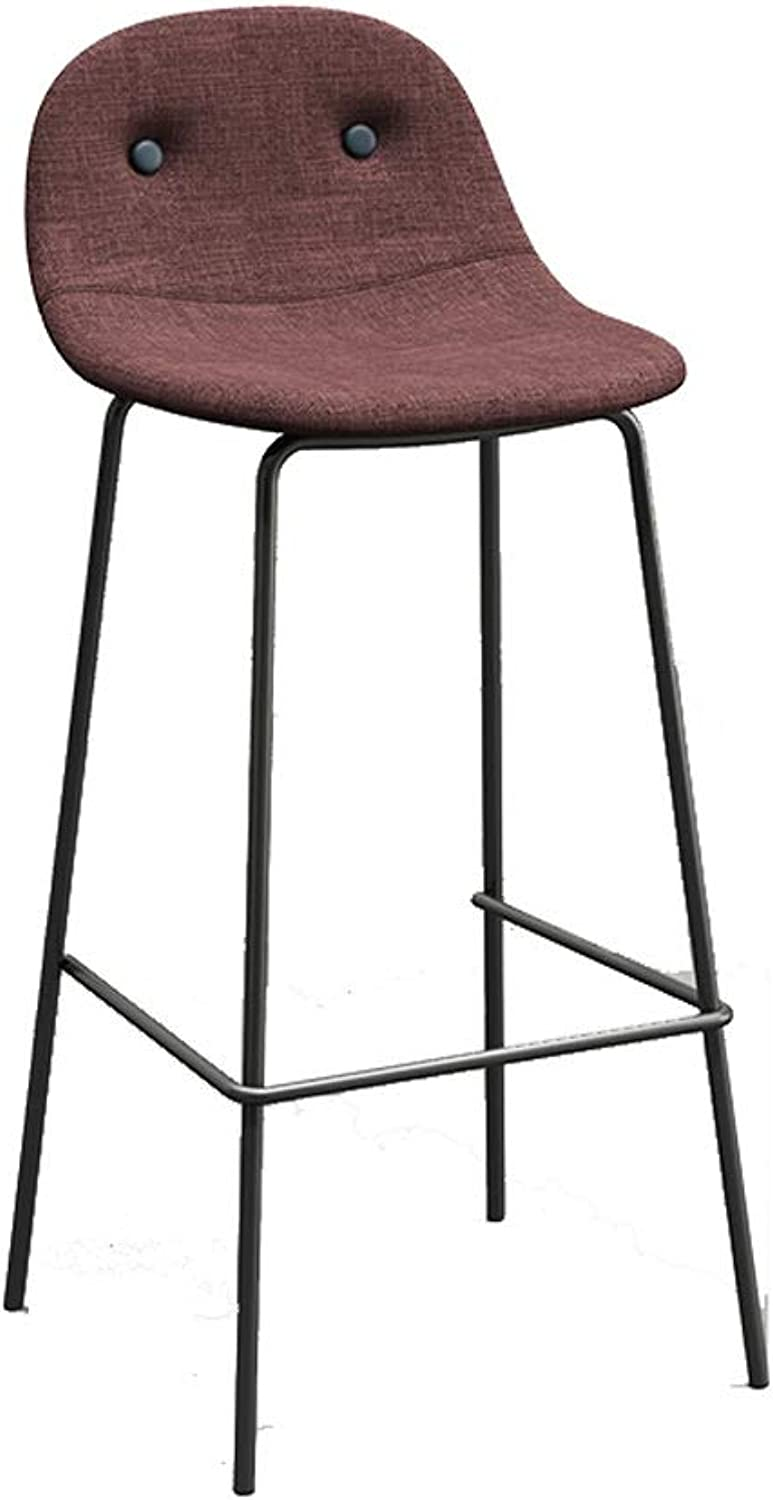 Nordic Creative bar Chair Iron Art bar Stool Personality high Stool Suitable for Coffee Shop Living Room Club SUGEWANJBD (color   Dark red, Size   68cm)