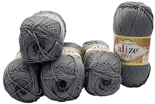 Alize 5 x 100 Gramm Wolle Diva einfarbig, 500 Gramm merzerisierte Strickwolle Microfiber-Acryl (grau 87)