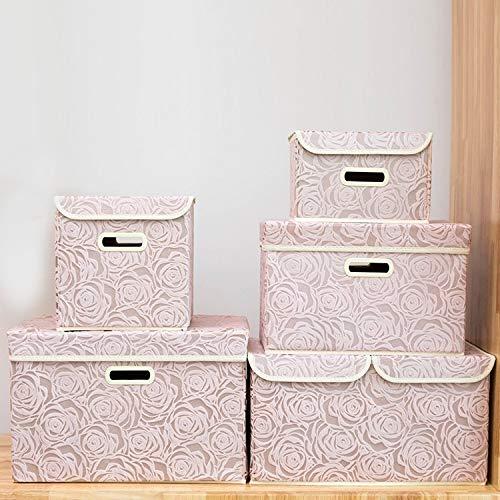 LianHongTouZiGuanLi Cajas Contenedores de Almacenamiento Plegables con Tapas de Tela de Tela Caja de Almacenamiento Cubos para niños Organizador de Juguetes Recipientes Cestas con manijas de Tapa