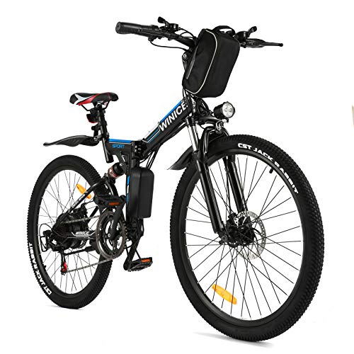 Vivi Folding Electric Bike Electric Mountain Bicycle 26' Lightweight 350W Ebike, Electric Bike for Adults with Removable 8Ah Lithium Battery,Professional 21 Speed Gears (Black)