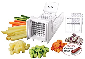 Tiger Chef French Fry Cutter and Vegetable Chopper - Easy Dicer With 2 Interchangeable Blades - Great for Potatoes Onions Carrots Cucumbers and more  White