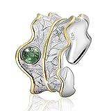 JIANGYUYAN S925 Sterling Silber Damen Ring Blätter Offen Ring Handgemachte Schmuck für Frauen und...