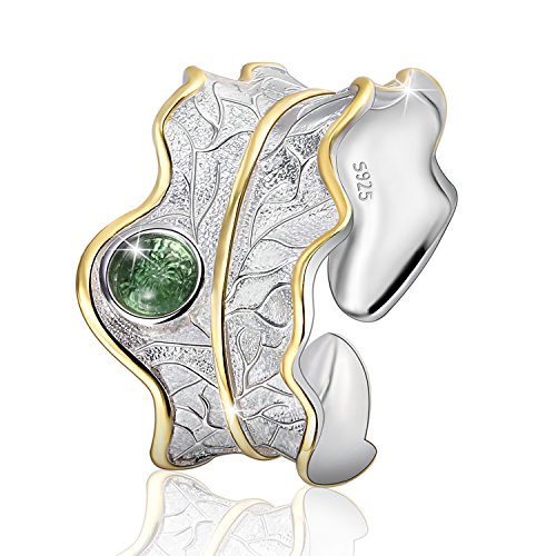 JIANGYUYAN  Regalo para Navidad S925 Anillos de Plata esterlina Anillo de Hoja Ajustable Natural Hecho a Mano único Regalo de joyería de Moda para Mujeres y niñas(Green)