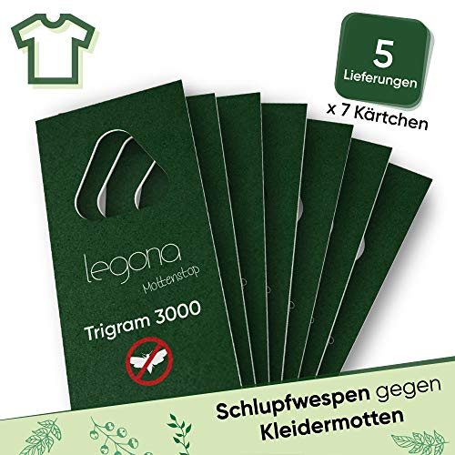 Legona® - Schlupfwespen gegen Kleidermotten/Biologische & Nachhaltige Bekämpfung von Textilmotten / 7X Trigram-Karte à 5 Lieferungen/Alternative zu Mottenspray und Mottenkugeln
