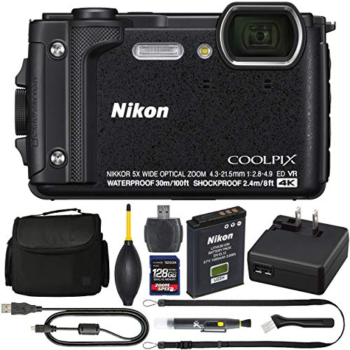 Nikon COOLPIX W300 Digital Camera (Black, 26523) + ZoomSpeed 128GB High Speed SDXC Memory Card + AOM Pro Bundle - International Version