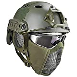QZY Casque de Protection Airsoft Paintball ETS Casques Tactiques avec Masque de Maille en Acier Set de Jeux CS 8 Couleurs,OD