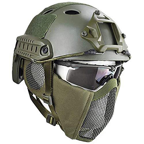 QZY Airsoft Paintball Schutzhelm, Taktische Helme mit Stahlgitter Maske CS Spiel Set 8 Farbe,OD