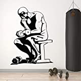 yaonuli Fitness Club Wall Sticker Gym Sports Barbell Workout Muscle Training Décoratif Vinyle Autocollant 42X88 cm
