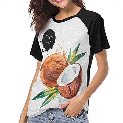 Tropical Womens Tops Round Neck Summer Blouse Breathable Slim-fit Teens