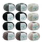 MyOma Wolle Set - Wollpaket Grundfarben 12 Knäuel Merinowolle zum Stricken Merino Mix Big Merinowolle Stricken – Dicke Wolle –