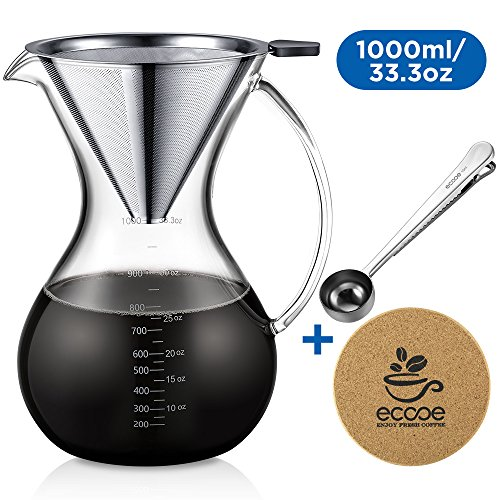 Pour Over Coffee Dripper 33oz Large Pour Over Drip Coffee Maker Brewer with Glass Carafe Stainless Steel Filter Spoon Cork Mat and Cleaning Brush