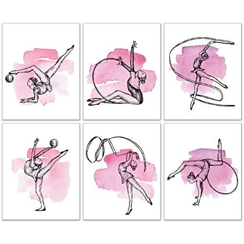 Rythmic Gymnastics Wandkunst-Dekor-Drucke – Set mit 6 (20,3 x 25,4 cm) ungerahmten Poster-Fotos – Mädchen-Schlafzimmer Geschenkidee