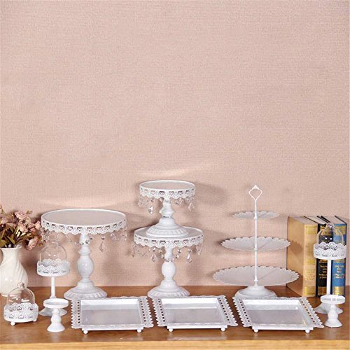 GooDay 12 Pieces/Set White Cake Stands and Pastry Trays,Metal Wedding Cupcake Stand Set Pedestal/Display/Plate/Stands and Trays with Crystals and Beads,Birthday Party Wedding Decorations for Tables
