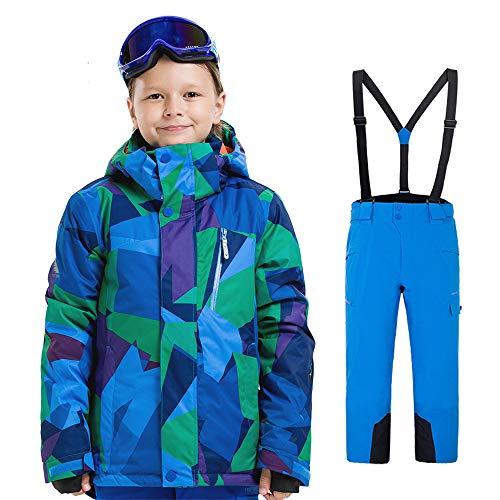 CXJC Skipak voor jongens, ski-jack + bretels, waterdicht, winddicht, ademend, skikleding voor outdoor, skiën, snowboarden, voor 8 9 10 11 12 13 14 kinderen