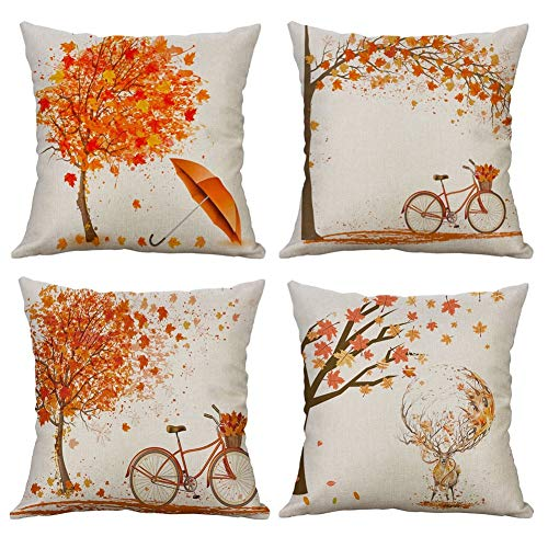 Gspirit 4 Pack otoño Arce Bicicleta Algodón Lino Throw Pillow Case Funda...