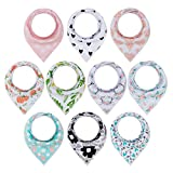 Product Image of the 10-Pack Baby Girl Bandana Drool Bibs Gift Set for Drooling Teething by MiiYoung