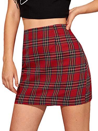 MakeMeChic Women's Plaid Skirt Zipper Side High Waist A-Line Mini Skirt Red XL