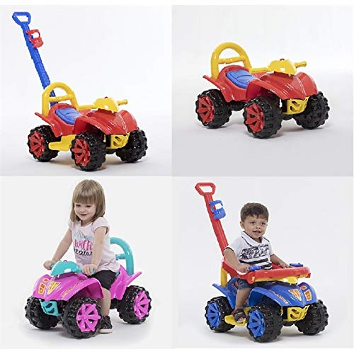 Quadriciclo Infantil Carrinho De Passeio Com Puxador Motoca 3 Em 1 Toy Kids Vermelho