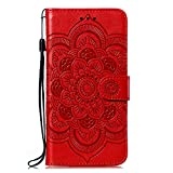 JZ Honor Play4 Mandala Wallet Phone Funda For para Huawei Honor Play4 Flowers Flip Cover with Stand & Wrist Strap - Red