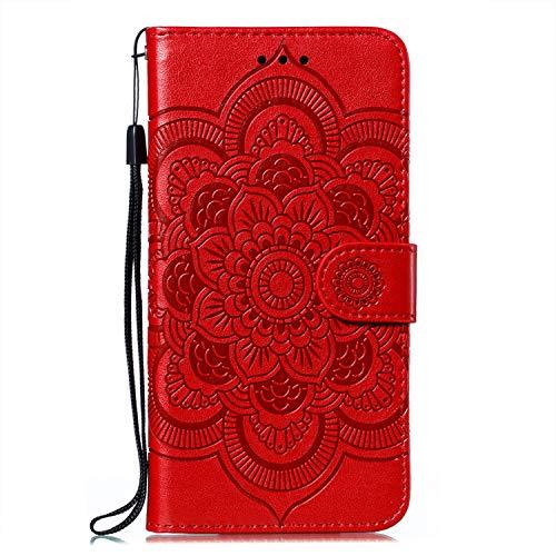 JZ Capa carteira Nova 3i Mandala para Huawei Nova 3i / P Smart+ Plus Flower Flip Cover com suporte e alça de pulso - Vermelho