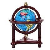 Yencoly Globe de Maison de poupée, Globe de décoration de Maison de poupée Mini Globe Rotatif sûr, Accessoire de Meubles de Maison de poupée pour poupée à l'échelle 1/12(Mahogany)