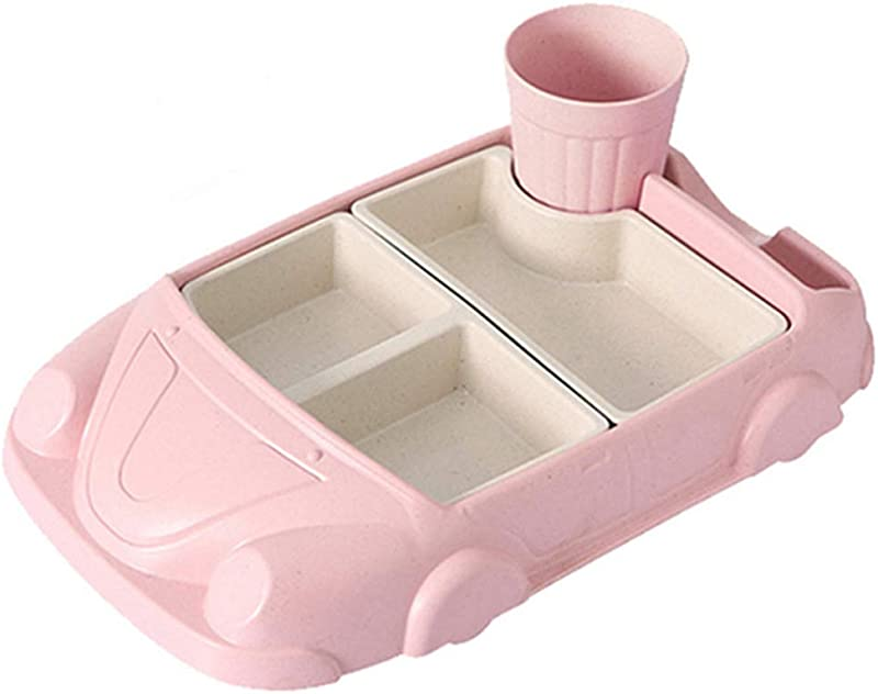 Yingyue Children Feeding Tableware Set Cartoon Car Shape Feeding Plate Food Tray Bowl And Cup Set Pink
