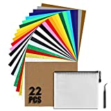 Iron on Vinyl Heat Transfer Vinyl 22pcs Includes 16pcs Assorted Colors Sheets and 6pcs Glitter Sheets for Shirts Works(10in x 12in)