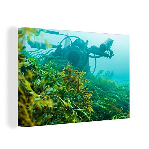 Canvas Schilderijen - Onderwatercamera maakt een foto van een zeedraak - 150x100 cm - Wanddecoratie - canvas met 2cm dik frame