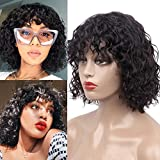 Goldfinch Remy Human Hair Short Curly Bob Wig with Bangs for Black Women Wet and Wavy Wigs with Bangs Water Wave Bob Wig Glueless Machine Made Wig 10 Inches 150% Density