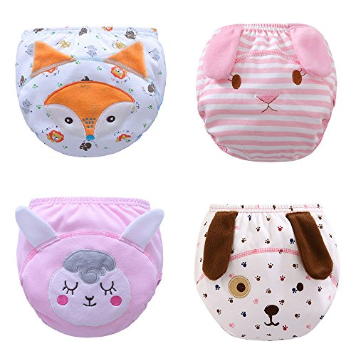 Max Shape Toddler Baby Girl Pee Potty Training Pants Cute Diaper Nappy 4 Pack L