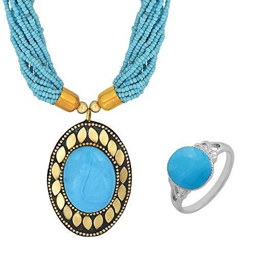 Memoir Gold Plated Brass Turquoise/Firoza Big Oval & Multi-