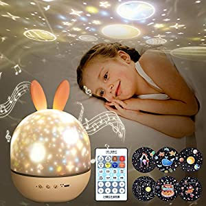 Night Light for Kids,Rotating Starry Night Light Projector with Remote Control,6 Films,USB Rechargeable,Soothe Musics,Bedside Lamp Nursery Light for Baby,Boys,Girls Birthday,Christmas Gift