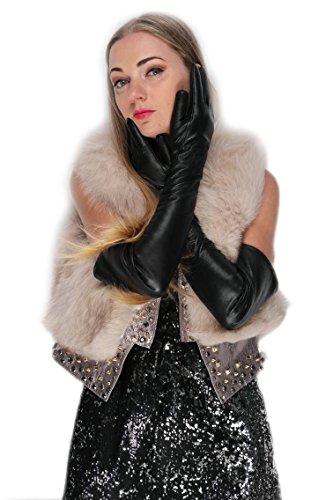 "KIMOBAA women 58CM(22.8"") long winter warm evening opera leather gloves black (L)"