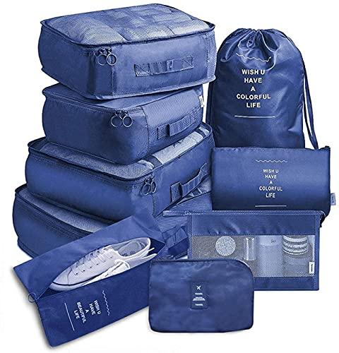 9 bolsas de almacenamiento portátiles de viaje, ropa, zapatos, organizador de cosméticos, artículos de tocador, bolsa organizadora, equipaje, accesorios, azul, 9 piezas, azul marino