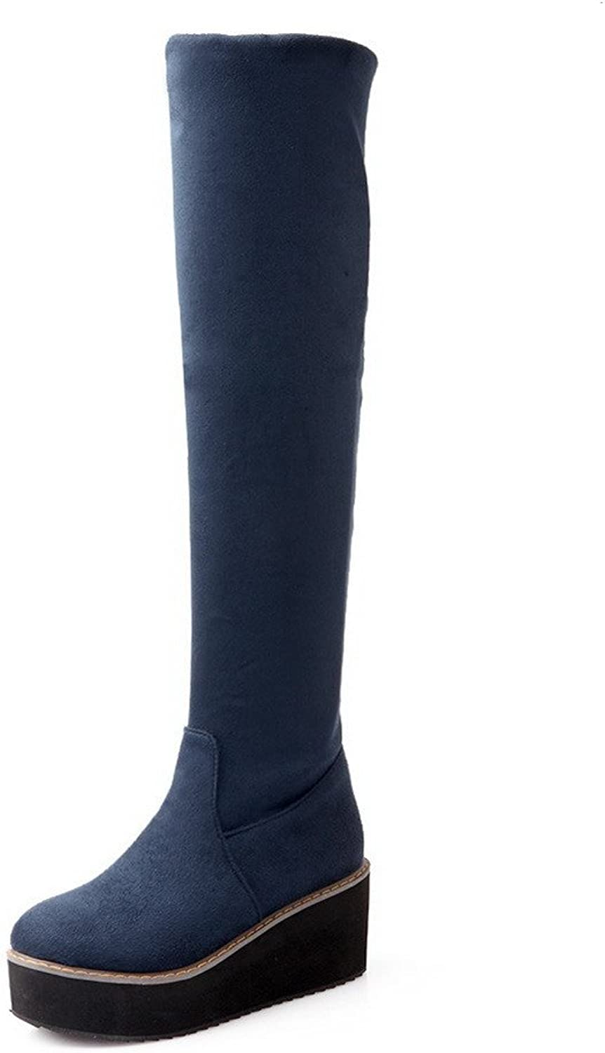 WeenFashion Women's Kitten-Heels Solid Round Closed Toe Frosted Pull-on Boots