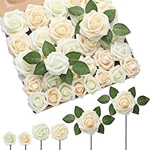 DerBlue 60pcs Three Different Sizes Artificial Roses Flowers Foam Roses Bulk w/Stem for DIY Wedding Bouquets Corsages Centerpieces Arrangements Baby Shower Cake Flower Decorations