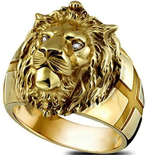 WEIXIANGYU 2pcs León León De Oro Cabeza Cabeza Finger Hombres Anillo Europeo y Americano Joyería De Moda Creative Alloy Party Ring 8号 AJZ773 Lion