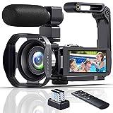 Videocamara Cámara de Video 4K Ultra HD 48MP Vlogging Youtube Cámara IR Visión Nocturna Zoom Digital 18X Digital Videocámara con Micrófono, WiFi, Estabilizador de Mano y Pantalla Táctil de 3.0'