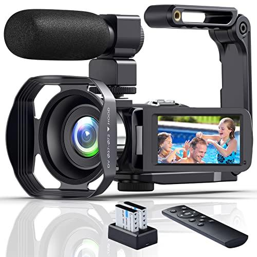 Videokamera 4K WiFi Camcorder 4K Ultra HD 48MP Vlogging Camera für YouTube 18X IR Nachtsicht Camcorder Full HD mit Mikrofon, Handheld Stabilisator