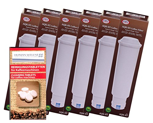 Human-Wellness Lot de 6 cartouches filtrantes compatibles Nivona NIRF700 + 10 tablettes de nettoyage.
