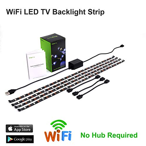 WiFi TV LED retroilluminazione striscia, compatibile con Google e ALEXA Home, alimentazione USB (5 V DC), flessibile RGB 5050 strisce, colour-changeable dimmerabile LED Strip (nuova versione)